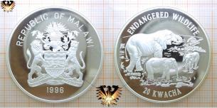 Afrikanischer Elefant mit Jungtieren, 20 Kwacha, 1996,  Vorschaubild
