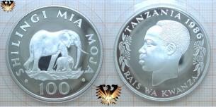 Elefanten Münze, Tanzania, 100 Shilingi Silber, 1986  Vorschaubild
