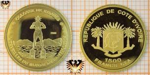 Elfenbeinküste, 1500 Francs, CFA, 2006, Kleingoldmünze Colosse  Vorschaubild