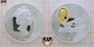 Canada, 20 Dollars, 1994, Flugzeug, Vickers Vedette, Silbermünze