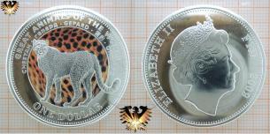 Gepard Münze, Fiji,1 Dollar, 2009, Farbmünze mit Elizabeth II und Cheetah.