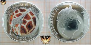 Giraffe Münze, 1 Fidschi Dollar, geprägt 2009,  Vorschaubild
