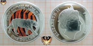 Tiger Münze, Fidschi, One Dollar, Farbmünze von 2009, Elisabeth II, Tigre.