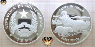 Flußpferd, 50.000 Pesos, 1996, Guinea-Bissau, Fauna  Vorschaubild