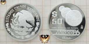 Drei Bälle, Fussball-WM 86, Silbermünze, Mexico 1986,  Vorschaubild