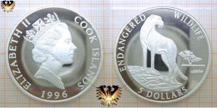 Gepard, 5 Dollars, 1996, Cook Island, Endangered  Vorschaubild