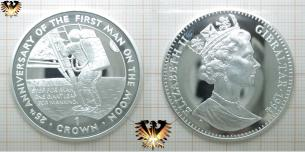 The First Man on the Moon, Silber, 1 Crown, Gibraltar, Elizabeth II, 1994