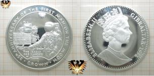 1 Crown, Münze in Sterlingsilber, 1994, Gibraltar, Queen Elizabeth II, First Man on the Moon.