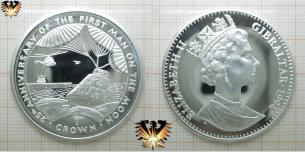 1 Crown, Gibraltar, 25th Anniversary of the first man on the Moon, 1994, Elizabeth II., 925 Silbermünze
