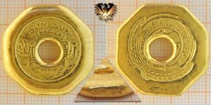 Sun Sun Jewellers, 37,73 g Feingold, Barrenmünze, Lochmünze, 1 Tael