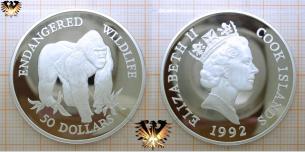 Flachland-Gorilla, 50 Dollars, 1992, Cook Island, Endangered  Vorschaubild