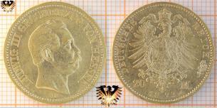 Hessen 20 M, Goldmark Münze, 1872 und 1873 H, Ludwig III, Grosherzog   Preis
