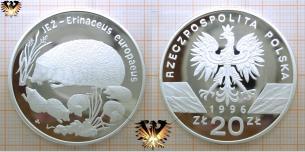 Europäischer Igel mit Jungen, 20 Zloty, 1996,  Vorschaubild