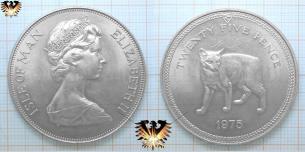 Manx Katze, Münze der Isle of Man, 25 Twenty five Pence, 1975, Silber,