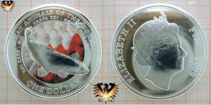 Karpfen Münze, Fiji 1 Dollar, 2009, Elizabeth  Vorschaubild