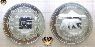 Kragenbär, 500 Rupees, 1993, Nepal, Endangered Wildlife,  Vorschaubild