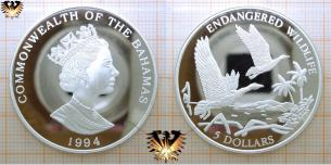 Kubapfeifgans, 5 Dollars, 1994, Bahamas, Endangered Wildlife,  Vorschaubild