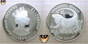 Cayman-Felsenleguan, 1 Dollar, 1995, Cayman-Inseln, Endangered  Vorschaubild