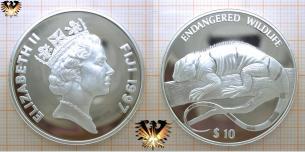 Kurzkammleguan, 10 Dollars, 1997, Fidschi Inseln, Gefährdete  Vorschaubild