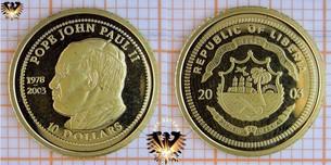 Liberia, 10 Dollars, 2003, Pope John Paul  Vorschaubild