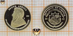 Liberia, 10 Dollars, 2005, South Africa Krugerrand, 25 Jahre Krügerrand