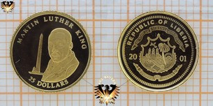 Liberia, 25 Dollars, 2001, Martin Luther King, Gedenk Goldmünze