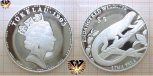 Leguan, 5 Dollars, 1993, Tokelau, Gefährdete Tierwelt,  Vorschaubild