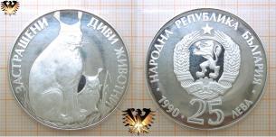 Luchs mit Jungtier, Silbermünze, 25 Lewa, 1990,  Vorschaubild