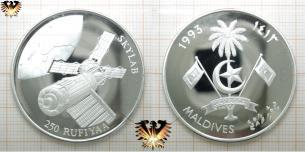 250 Rufiyaa, Skylab, Maldives 1993, Münze, Silber, Weltall