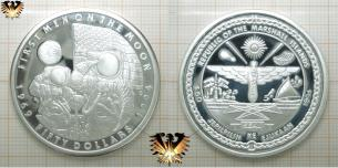 50 Dollars, First Men on the Moon, 1994, Silber-Gedenkmünze, Marshall Islands, Feinsilber, 1 OZ