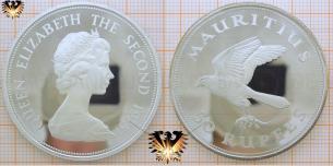 Mauritiusfalke, 50 Rupees 1975, Mauritius, Silbermünze  Vorschaubild