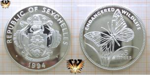 Monarchfalter, 25 Rupees, 1994, Seychellen, Gefährdete Tierwelt,  Vorschaubild