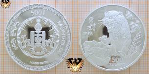Tiger, 1 oz Silbermünze, Mongolia 1998, 500  Vorschaubild