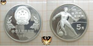 Tor des Friedens, 5 Yuan, Fußballmünze, China  Vorschaubild