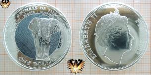 Elefant Farbmünze, Fidschi, One Dollar, 2009 Elizabeth  Vorschaubild