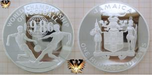 Fußballmünze, Silber 136 Gramm, Jamaica, 100 Dollars, World Championship of Football 1986, Mexico