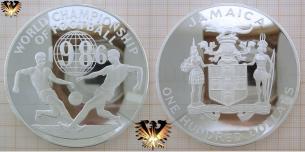 Fußballmünze, Silber 136 Gramm, Jamaica, 100 Dollars,  Vorschaubild