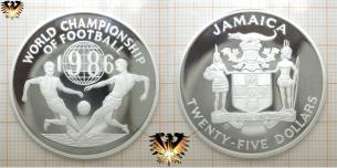 25 Dollars, World Championship of Football 1986, Mexiko, Silbermünze, Zweikampf