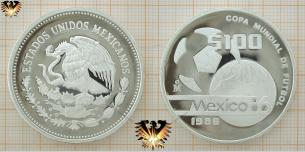 100 Pesos, Silbermünze, die Welt des Fußballs,  Vorschaubild
