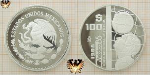Tormann mit Ball, 100 Pesos, Fußball Münze,  Vorschaubild