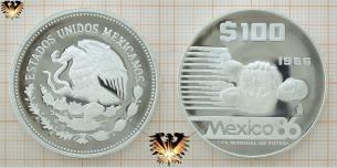 100 Pesos, Silbermünze, Torhüter, Mexico 86, Copa  Vorschaubild