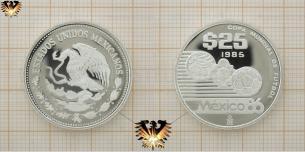 Azteca Ball, 25 Pesos, Fußball-Weltmeisterschaft, Silbermünze, Mexico  Vorschaubild