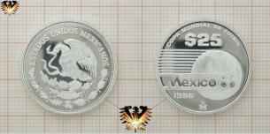 Azteca, 25 Pesos, Silbermünze, 1986 Mexico, Copa  Vorschaubild
