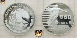 $ 50 Pesos, Silbermünze, Mexico 86,  Copa  Vorschaubild