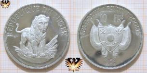 Löwe aus Niger, 10 FRs 1968, Fraternite Travail Progres, Münzen mit Löwen