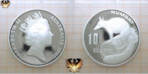 Tier- Münze Numbat, 10 Dollars, 1995, Australien, Endangered Wildlife