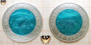 25 Euro, Silber Niob Münze, Luftfahrt in Österreich, 2007, Igo Etrich, türkisblau