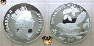 Ogea-Fliegenschnäpper, 10 Dollars, 1995, Fiji-Inseln, Endangered  Vorschaubild