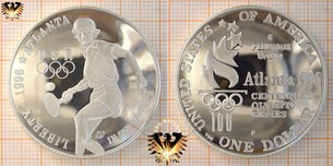 1 Dollar, USA, 1996, Tennis, Atlanta Olympics, Silbermünze