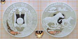 Grevy Zebra mit Jungtier, 100 DJF 1994,  Vorschaubild